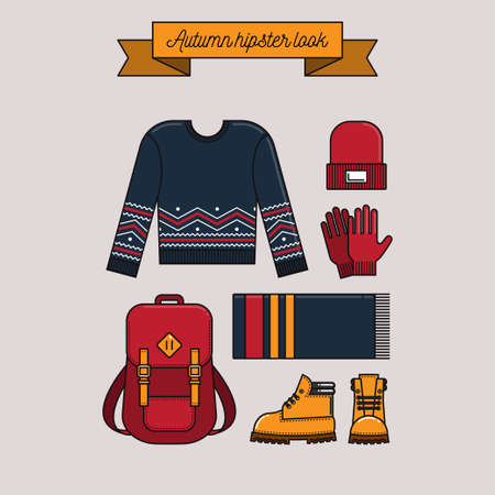casual fashion: Autumn hipster look. Warm knitted clothes and accessories, shoes and backpack. Casual fashion. illustration. Trendy flat lay style.