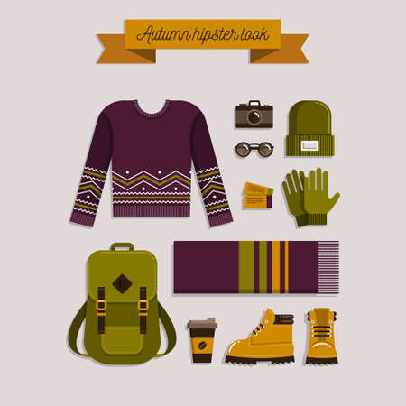 Autumn hipster look. Warm knitted clothes and accessories, shoes and backpack. Casual fashion. illustration. Trendy flat lay style Illustration