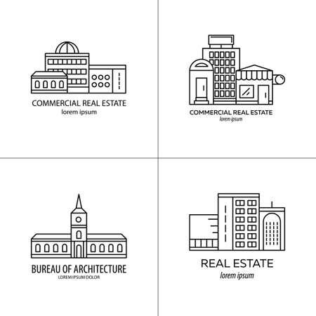 Conjunto de logotipo de bienes raíces. estilo de línea de moda. logotipo de forma gráfica en blanco y negro. Los bienes raíces comerciales, empresas de arquitectura, construcción edificios. ilustración vectorial