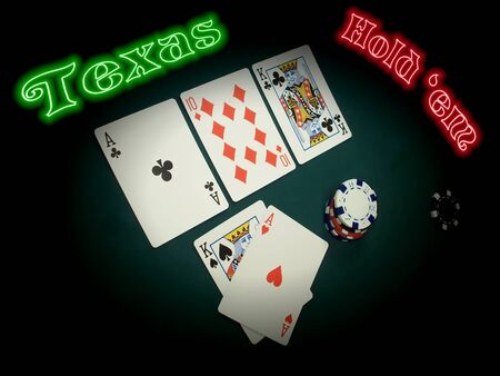 A TEXAS HOLD EM hand is spotlighted in the stage of the game known as THE FLOP (three cards face up ACE TEN KING). The player has thrown his two hole cards (KING ACE) face up because he is ALL IN. Green and Red neon compliment this crisp and clear photo.