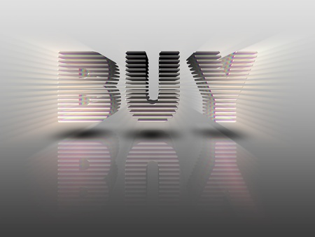 sectioned: The word BUY is in 3D letters on grey background, shiny, sectioned, and beveled... emitting rays. Has a reflection and shadow. Eye Catching.