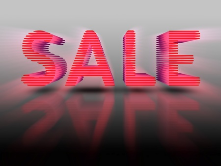 attention grabbing: The word SALE in red 3D layered text on light grey background with reflection. Attention grabbing.
