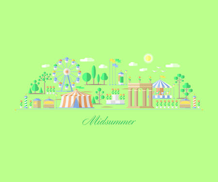 illustration and painting: fair, amusement park summer