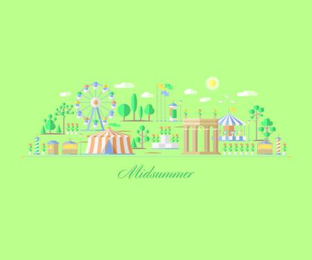 ilustracion: justo, parque de atracciones de verano