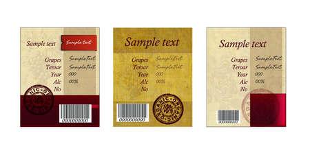 Set of vintage wine  labels for design