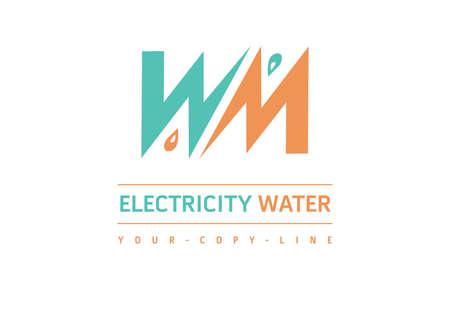 water electricity logo orange green
