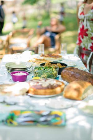 Table with delicious food for Sunday afternoon lunch