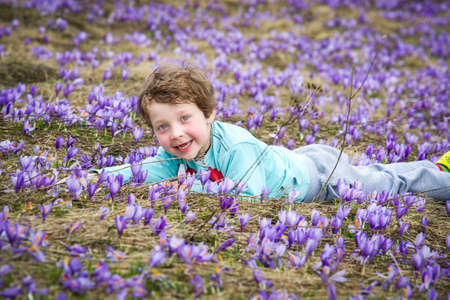 Happy cute boy with blue eyes lying on the grass and purple flowers all around him Stock Photo