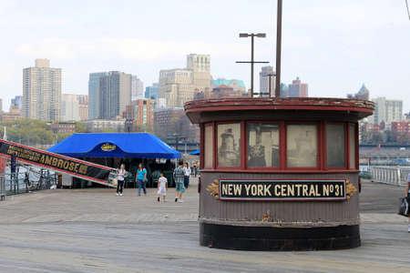 Info Booth, Brooklyn Bridge Area, NYC Stock Photo - 13460614