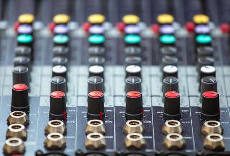 musik: controls to adjust the music equalizer, DJ equipment Stock Photo