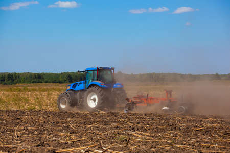 Big blue tractor plows the field and removes the remains of previously mown sunflower. Work agricultural machines. Stock Photo