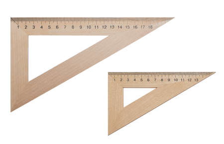 acute angle: Two triangular ruler made of wood 20 and 15 centimeters on a white, isolated background. Office supplies, education