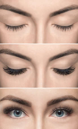 Eyelash removal procedure before and after close up. Beautiful Woman with long lashes in a beauty salon. Eyelash extension. Banco de Imagens