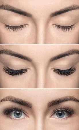 Wimpernentfernung vor und nach dem Schließen. Schöne Frau mit langen Peitschen in einem Schönheitssalon. Wimpernverlängerung.