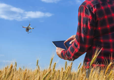 Businessman is on a field of ripe wheat is holding a Tablet computer and controls the quadcopter. The concept of the agricultural business. Stock Photo
