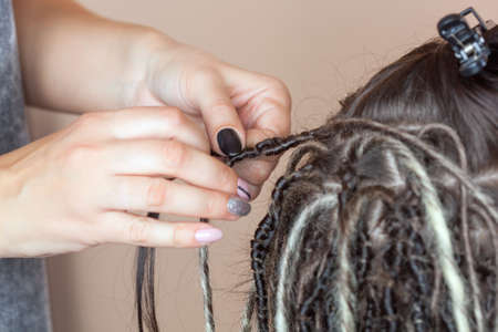 A hairdresser weaves dreadlocks to a beautiful young girl in a hairdressers.Beautiful hairstyles. 写真素材