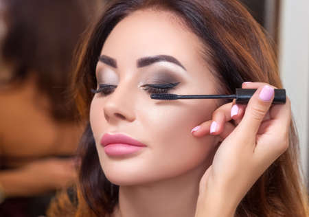 Makeup artist does make-up to a woman with brown hair and beautiful make-up. Professional makeup and cosmetology skin care.