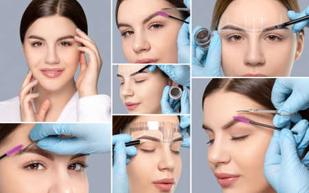 Collage of permanent eyebrow makeup of beautiful woman in beauty salon. Closeup beautician doing tattooing eyebrow. Professional makeup and cosmetology skin care.