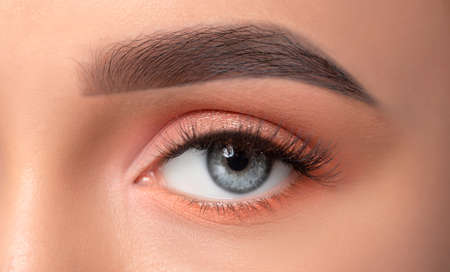 Blue eyes and eyebrows close-up. Portrait of a beautiful teenage girl with beautiful makeup, extended long eyelashes and healthy clean skin. Makeup and cosmetology concept.