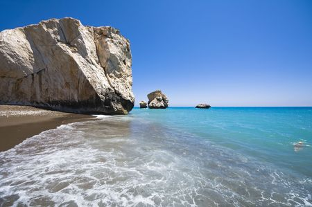 aphrodite: Aphrodites birthplace rock in CYprus Stock Photo