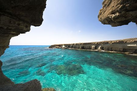 Sea Caves in Cyprus Stock Photo