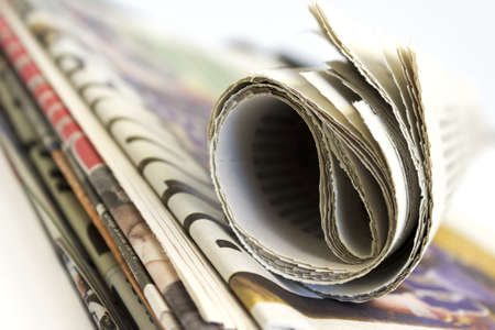 daily newspaper: Stack of newspaper shallow depth of field Stock Photo