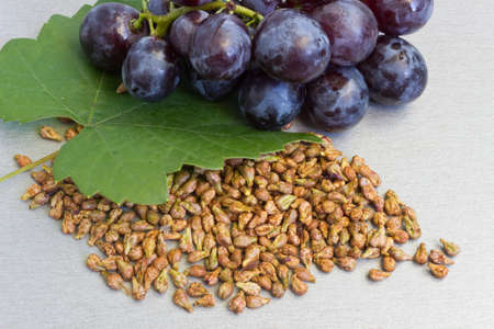 Grapes and grape seeds on the table Stock Photo