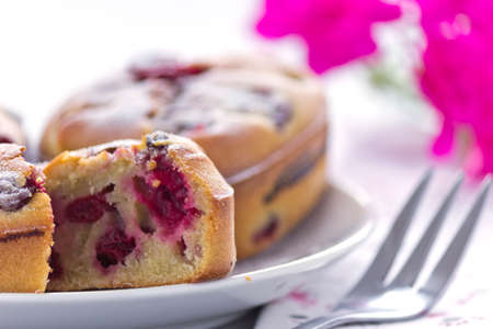 freshly prepared: Freshly prepared cake with cherry