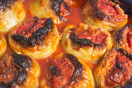 Stuffed peppers with meat,rice and vegetables-close up photo