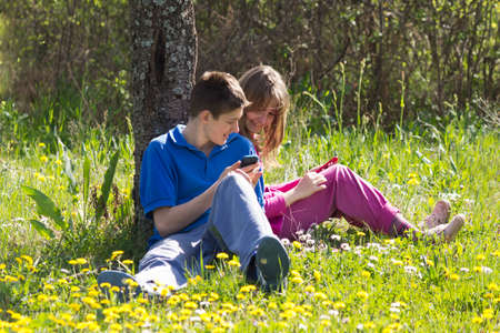 anti social: Teenagers having fun with their mobile phones in nature Stock Photo