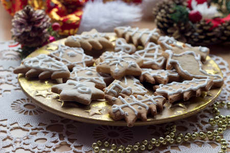 solemn: Homemade new year cookies on solemn decorated table Stock Photo