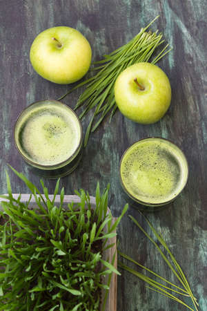 Detox. Fresh drink made from wheat grass and green apple Stock Photo