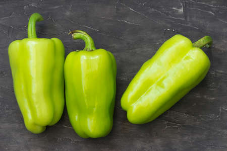 Fresh green bell peppers- look from above