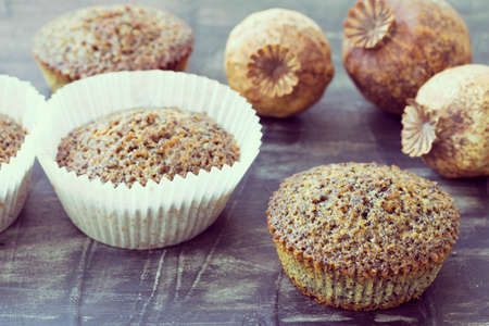 Fresh homemade muffins with poppy seeds