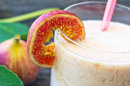 Homemade fruit drink with fig and yogurt, refreshing summer drink