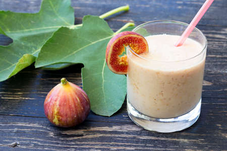 Healthy fruit drink with figs and yogurt