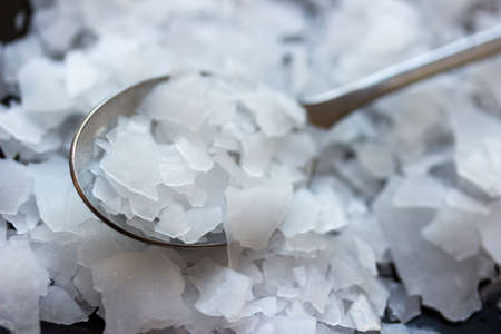 Magnesium chloride flakes -sea salt - close up