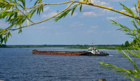 barge: Barge floats on the Dnieper River