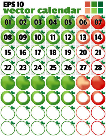 dates fruit: Template for production of a calendar. With an example of filling and empty objects. Week begins since Monday. Days of the week in the form of apples. Vector illustration