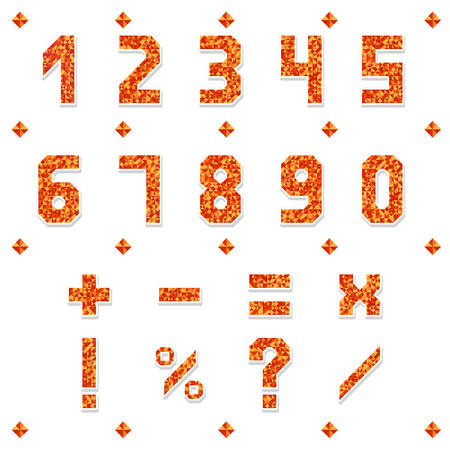 literate: Cheerful numbers and mathematical symbols of triangular mosaics. Fiery colors. Vector illustration