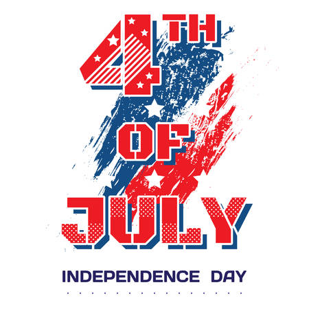 scuffed: 4th of July. Bright inscription July 4th on a white background with brush strokes with scuffed and stars in grunge style. Independence Day, July 4th holiday greetings, card, banner, flyer. Vector