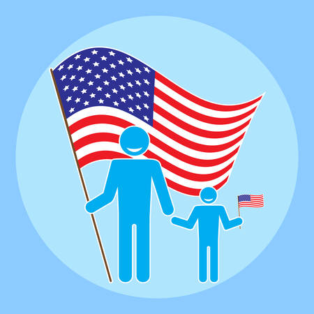 july 4: Father with baby on a background of the American flag. Flat style figure man and child with the flag of the United States. Icon to celebrate Flag Day, Independence Day July 4, Fathers Day. Vector