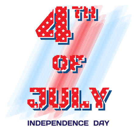 pitted: July 4 pitted stars. Big bright sign on July 4 brush strokes on white background for Independence Day, a festive greeting, postcard, banner, flyer. Vector illustration Illustration