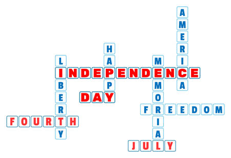 4th of july: 4th July Independence Day crossword in minimal style. 4th July theme for the celebration of Independence Day on July 4th. Vector Illustration