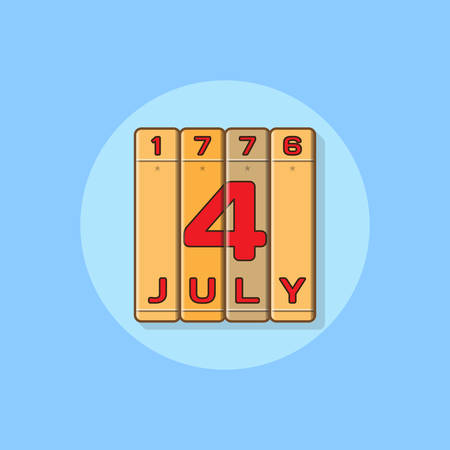 4th july: Independence Day 4th July and in 1776 on the books. Flat style icon for the celebration of Independence Day on 4th July. Vector