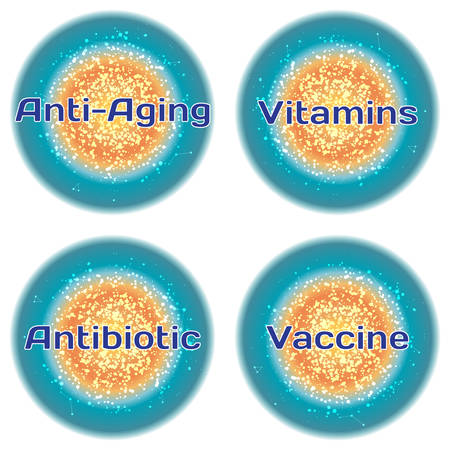 antibiotic: Word Anti-Aging. Vitamins. Antibiotic. Vaccine. Health concept with text in a high-tech frame. Modern Medical concept. Vector