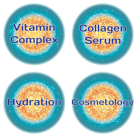 hydration: Word Vitamin Complex. Collagen Serum. Hydration. Cosmetology. Health concept with text in a high-tech frame. Modern Medical concept. Vector