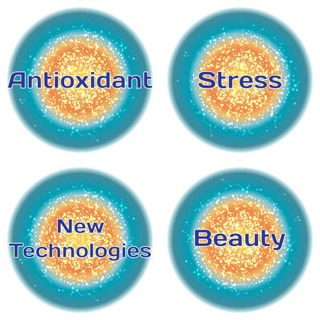 Word Antioxidant. Stress. New Technologies. Beauty. Health concept with text in a high-tech frame. Modern Medical concept. Vector Vectores
