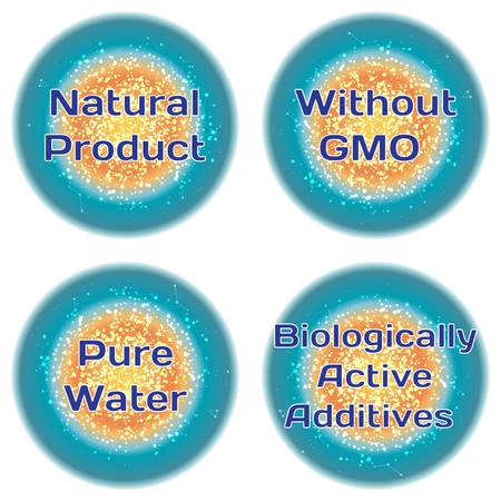 additives: Word Natural Product. Without GMO. Pure Water. Biologically Active Additives. Health concept with text in a high-tech frame. Modern Medical concept. Vector
