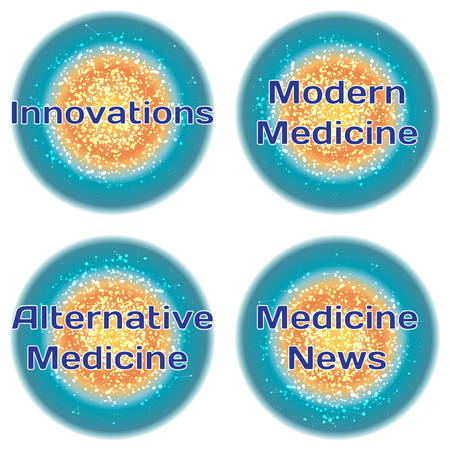 alternative medicine: Word Innovations. Modern Medicine. Alternative Medicine. Medicine News. Health concept with text in a high-tech frame. Modern Medical concept. Vector Illustration